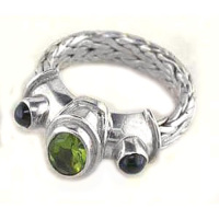 Peridot & Black Star Diopside Ring with Hand Woven Sterling Silver Band