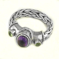 Amethyst and Peridot Ring with Hand Woven Sterling Silver Band
