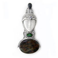 Goddess Pin-Pendant with Pietersite, Opal, Black Star Diopside, and Tanzanite