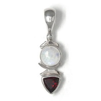 Garnet and Rainbow Moonstone Pendant