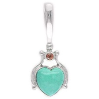 Turquoise Heart and Garnet Pendant