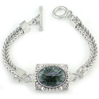 Seraphinite Bracelet with Sterling Silver Woven Band and Toggle Clasp