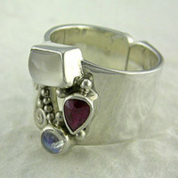 Moonstone, Ruby and Rainbow Moonstone Ring