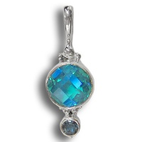 Rainbow Teal Quartz Pendant with Blue Topaz