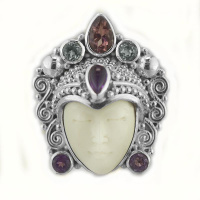 Goddess Ring with Pink Tourmaline, Amethyst and Aquamarine
