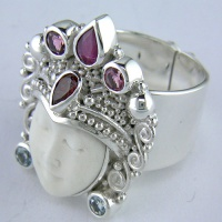 Goddess Ring with Ruby, Garnet, Pink Tourmaline & Aquamarine Sz7