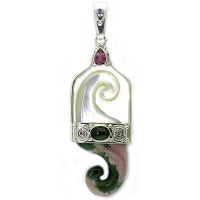 Mother of Pearl and Ocean Jasper Wave Pendant with Pink Topaz, Green Tourmaline and Tanzanite