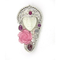 Goddess Pin-Pendant with Rhodocrosite Flower, Ruby, Pink Tourmaline, Garnet, and Rainbow Moonstone