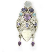 Goddess Pin-Pendant with Aquamarine, Apatite, Iolite, Amethyst, and Tanzanite