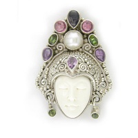 Goddess Pin-Pendant with Pearl, Iolite, Pink Tourmaline, Amethyst and Green Tourmaline