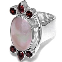 Mabe and Garnet Asymmetrical Ring