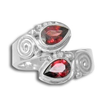Sterling Silver Faceted Garnet Bypass Ring