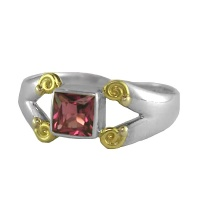 Pink Topaz Sterling Silver Ring with Vermeil Accents
