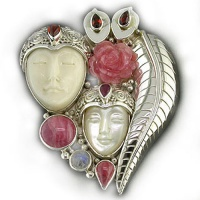 Double Goddess Pin-Pendant with Mother of Pearl, Rhodocrosite, Garnet, Rainbow Moonstone and Ruby