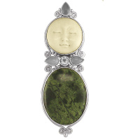 Goddess Pin-Pendant with Russian Serpentine, White Topaz & Moonstone