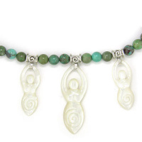 Turquoise Bead and Mother of Pearl Goddess Necklace