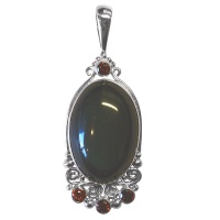 Rainbow Obsidian and Garnet Pendant