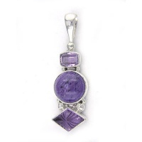 Charoite and Fancy Amethyt Pendant