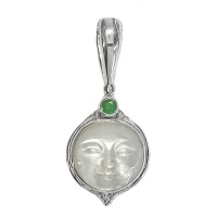 Mother of Pearl Goddess Pendant with Emerald