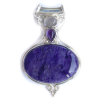Charoite Pendant with Moonstone and Rose Quartz