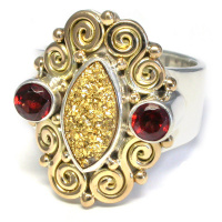 18k Gold & Silver Ring with Garnet & Gold Druzy