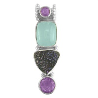 Druzy, Amethyst, and Aquamarine Pendant