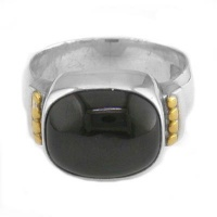 Black Star Silver Ring with Gold Accent