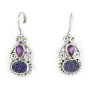 Druzy and Amethyst Latch-Back Earrings