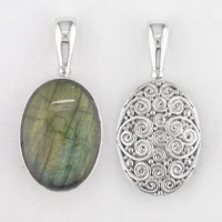 Labradorite and Sterling Silver Swirl Reversible Pendant