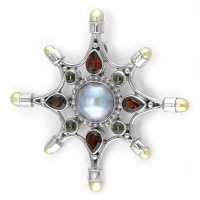 Blue Mabe Pearl Pin-Pendant with Garnet, Citrine and Peach Pearl