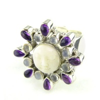 Goddess Ring with Amethyst & Moonstone