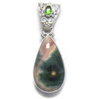 Ocean Jasper and Chrome Dioside Pendant with Enhancer Bale