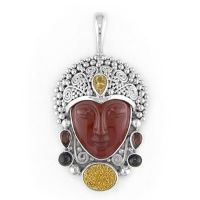 Red Jasper Goddess Pendant with Gold Druzy, Citrine, Garnet & Black Star Diopside