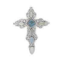 Ornate Sterling Silver Cross Pin-Pendant with Caribbean Druzy, Moonstone and Chalcedony