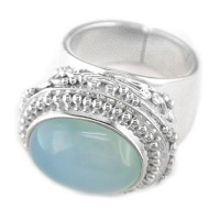 Ornate Ocean Blue Chalcedony Ring