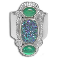 Green Druzy and Green Titanium Backed Moonstone Ring