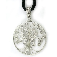 Sterling Silver Tree of Life Pendant with Black Silk Cord