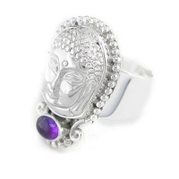 Repousse Buddha Ring with Cabochon Amethyst