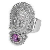 Repousse Buddha Ring with Amethyst