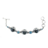 Hematite Goddess Bracelet with Swiss Blue Topaz and Aquamarine
