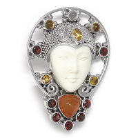 Goddess Pin-Pendant with Moonstone, Citrine, Garnet, and Orange Chalcedony