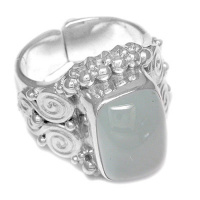 Sterling Silver Large Rectangle Aquamarine Ring