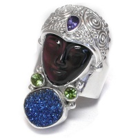 Rainbow Obsidian Carved Goddess adjustable Ring with Druzy, Iolite & Green TourmalinePeridot