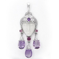 Goddess Pendant with Amethyst and Pink Tourmaline