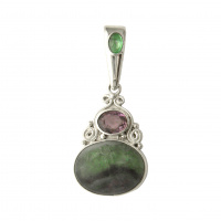 Fluorite, Amethyst, and Emerald Pendant