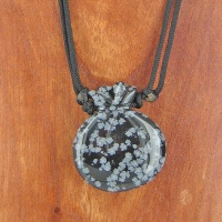 Snowflake Obsidian Pouch Necklace