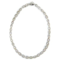 "White Pearl Bead Necklace with Inliad Swarovski Crystals 16"" + 2"" Ext"