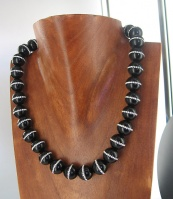 "Onyx Bead Necklace with Inlaid Swarovski Crystals 16"" + 2"" Ext"