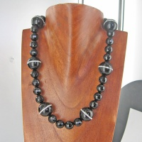 "Onyx and Swarovski Crystal Beaded Necklace 18"" + 2"" Ext"