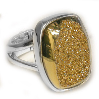 Gold Window Druzy Rectangle Ring